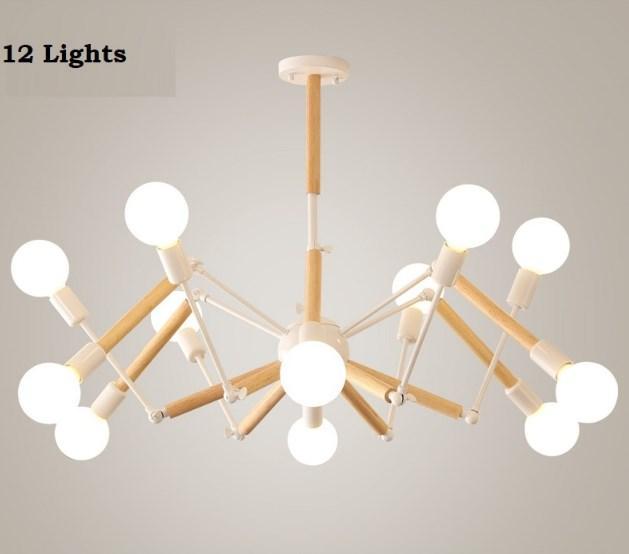 "Люстра ""Паук"" на 12 ламп белая с элементами дерева"