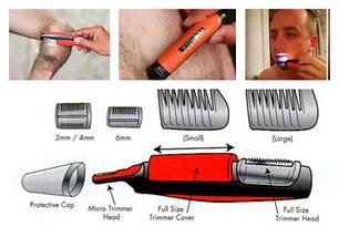 Триммер для лица и тела Micro Touch Switchblade 2 в 1 с комплектом насадок, фото 3