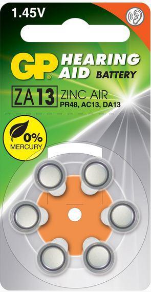 Батарейки для слуховых аппаратов ZA10/ZA13 6 шт.