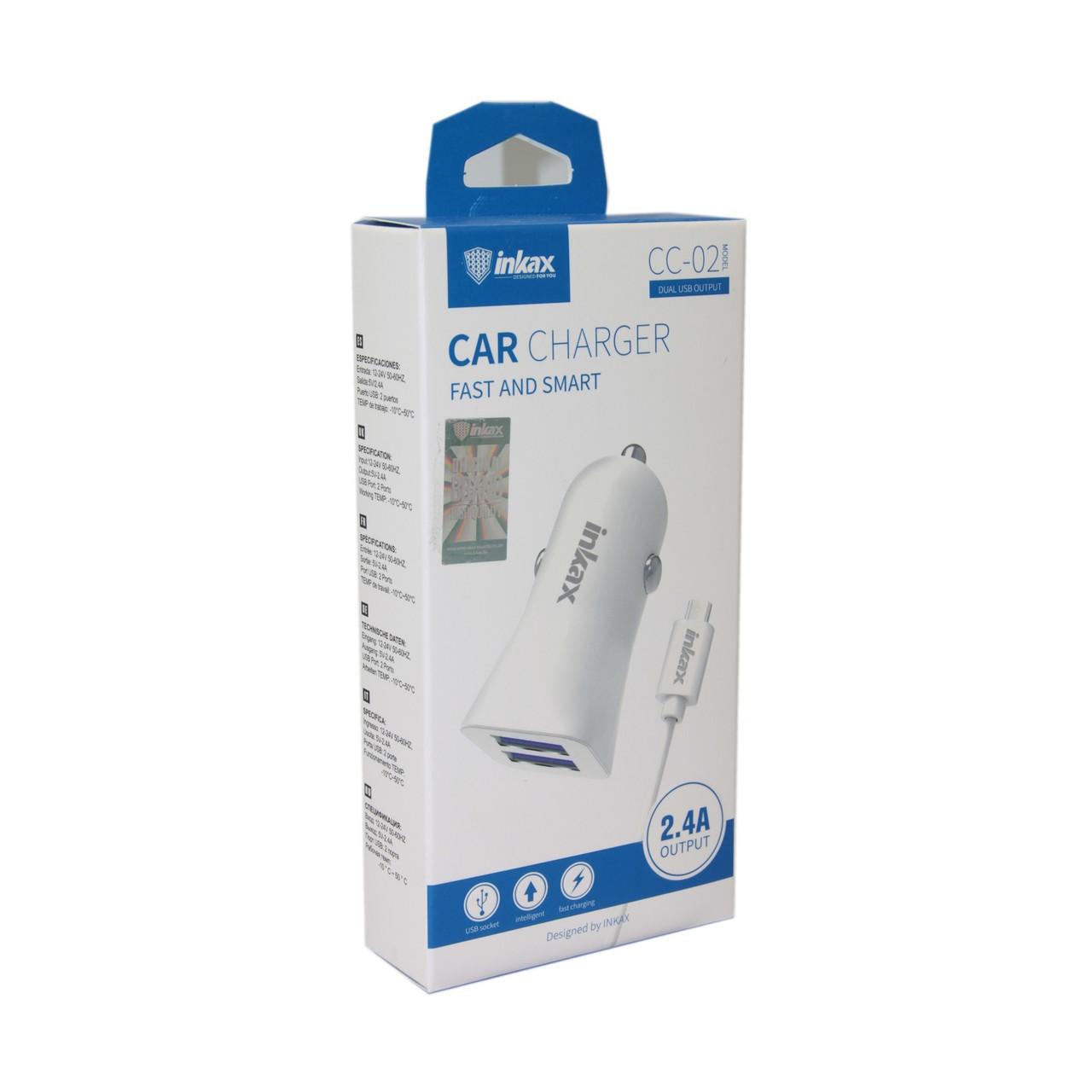 Автомобильное зарядное устройство INKAX CC-02 Micro USB 2.4A