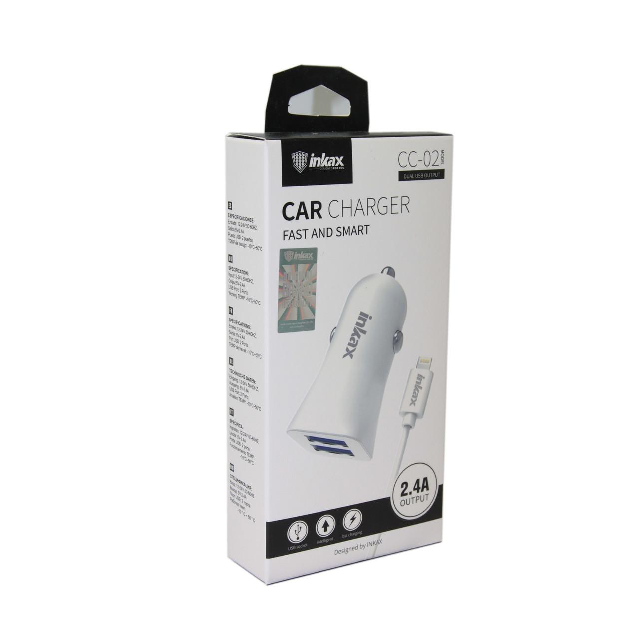 Автомобильное зарядное устройство INKAX CC-02 iPhone Lightning USB 2.4A