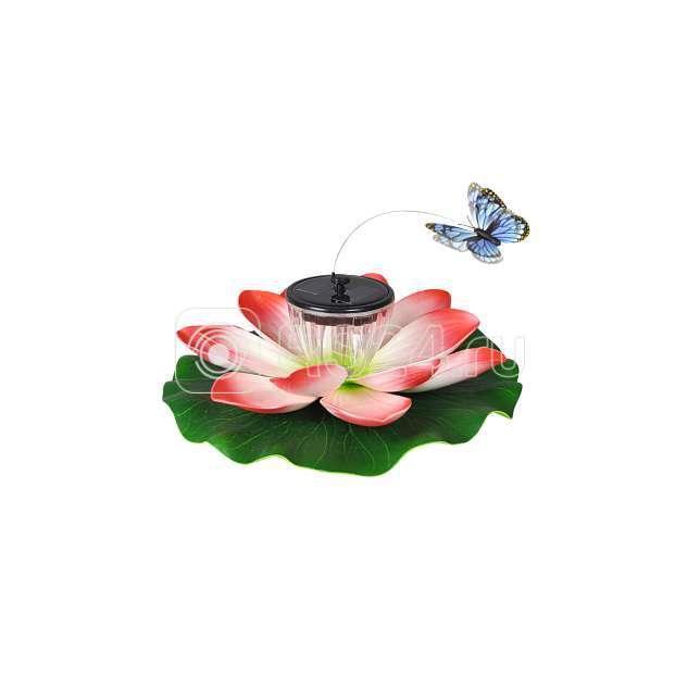 """Светильник 953 """"Лилия с летающей бабочкой"""" садовый на солнечных батареях"""