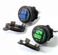 Авто USB зарядное устройство QC3.0 быстрая зарядка с вольтметром и амперметром