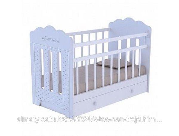 Детская кроватьBONNE с маятником+ящик,цвет белый ,бежевый.