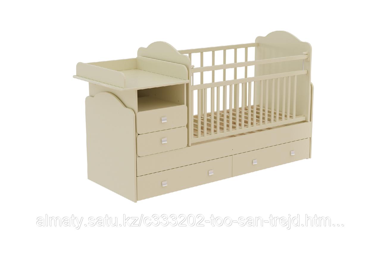 Детская кровать INFAZIA с пеленальным столом,цвет белый,венге-бежевый