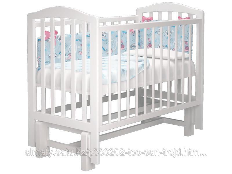 Детская кровать Пиколо 2 с маятником,цветбелый,слоноваякость.