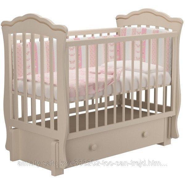 Детская кроватьВэлла 3 с маятником +ящик ,цвет белый,слоновая кость