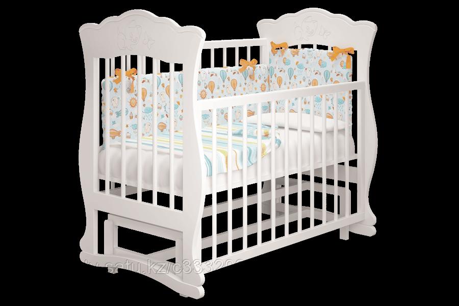 Детская кровать Елена 2 смаятником,цветбелый