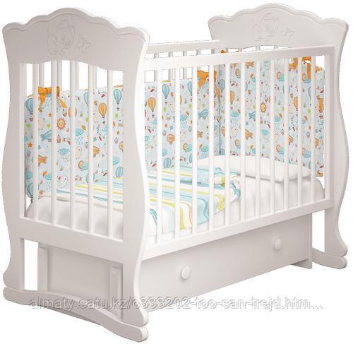 Детская кровать Елена 3 ( маятник + ящик,цвет слоновая кость)