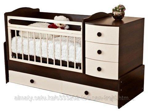 Детская кровать Кирюша,(белый,слоновая кость/шоколад)