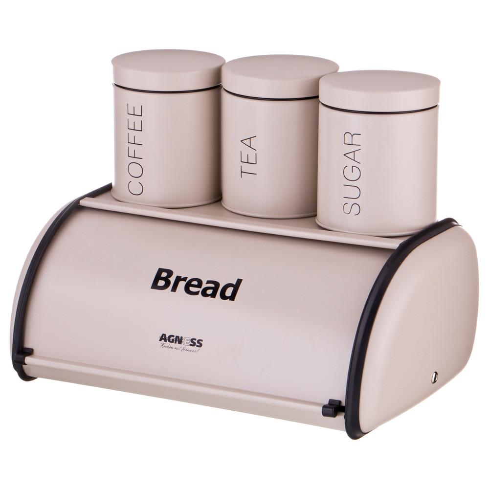 Набор: хлебница, банки для сыпучих продуктов (4 пр.)