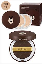 Тональная маскирующая основа-кушон Мишка Missha X Line Friends Magic Cushion Moisture SPF50+/РА+++
