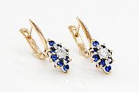 Золотые серьги с синей шпинелью и фианитами