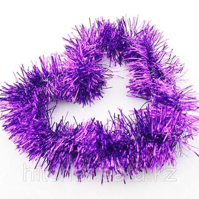 Новогоднее украшение гирлянда фиолетовая мишура