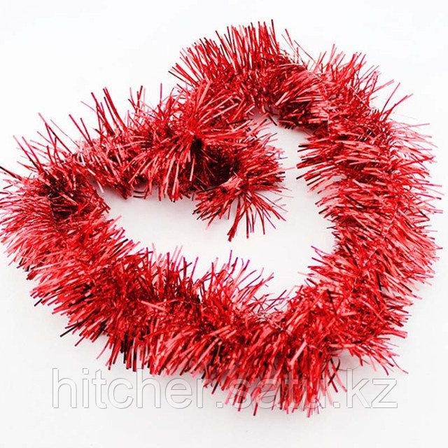 Новогоднее украшение гирлянда красная мишура