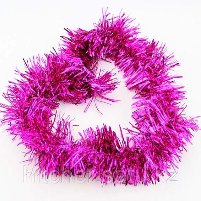 Новогоднее украшение гирлянда розовая мишура