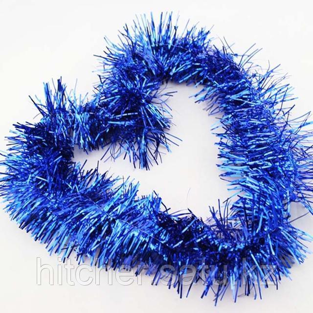 Новогоднее украшение гирлянда синяя мишура