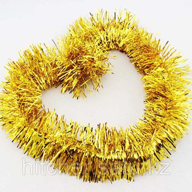 Новогоднее украшение гирлянда золотая мишура
