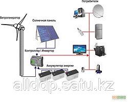 Автономная гибридная (ветро-солнечная) электростанция на 1,6 кВт/час (1 кВт/час - ВЭС и 0,6 кВт/час-СЭС)