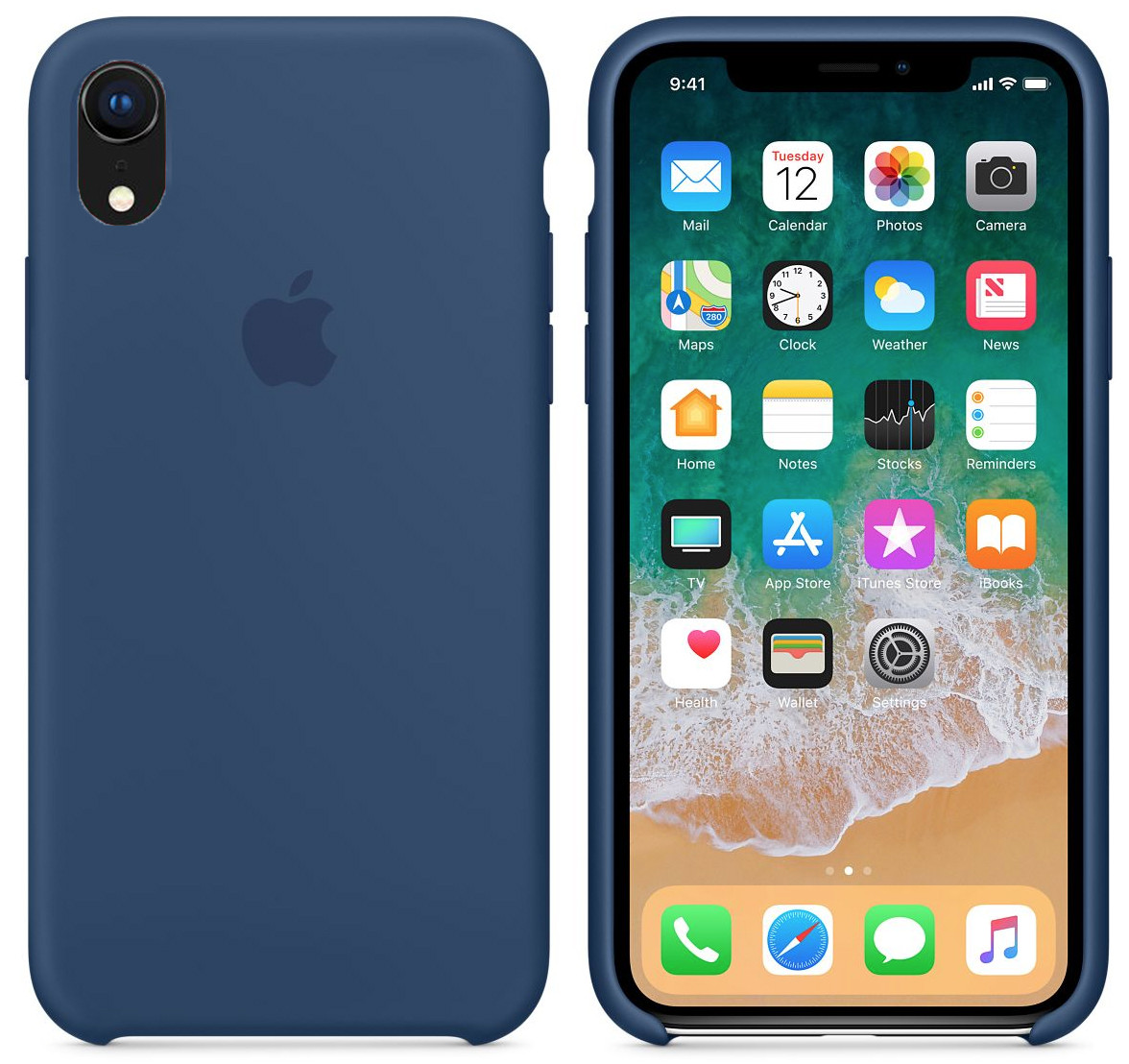 Силиконовый чехол для Apple iPhone XR (глубоко-синий)