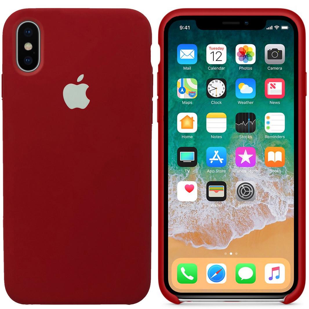 Силиконовый чехол для Apple iPhone XS Max (бордовый)