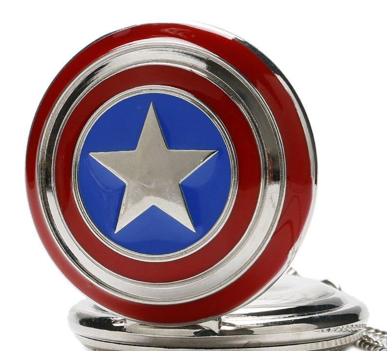 Карманные кварцевые часы на цепочке Капитан Америка