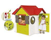 Детский домик со звонком, дверью, окнами, звонок со звуком. Упрочнённый пластик.