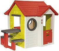 Детский игрушечный домик, с дверью и ставнями, со столом, электронным дверным звонком, почтовым ящиком