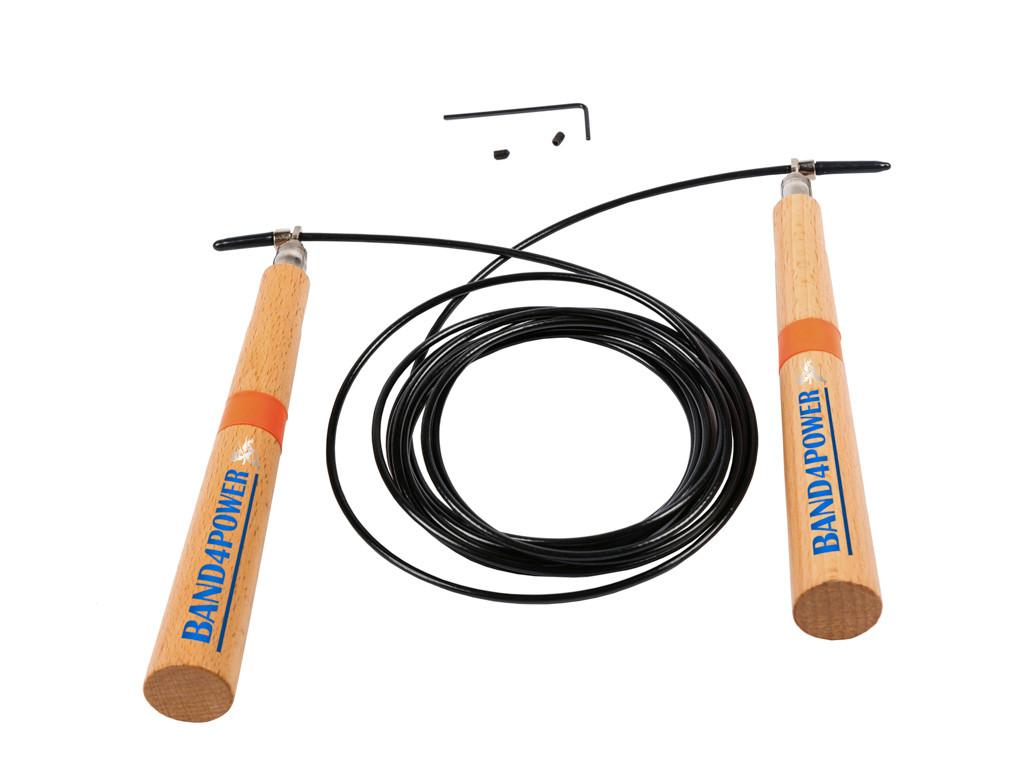 Скоростная скакалка на подшипниках с деревянными ручками