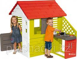 Игровой домик с кухней, с приборами, аксессуарами, с дверью, крышей, пластик