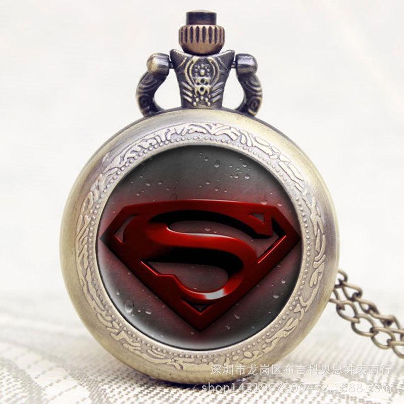 Карманные кварцевые часы на цепочке SuperMan