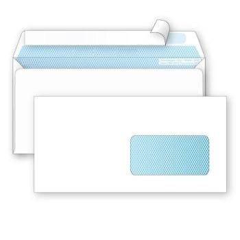 Конверт Е65 Ряжская печатная фабрика (110х220 мм) белый, удаляемая лента, правое окно 45х90 мм