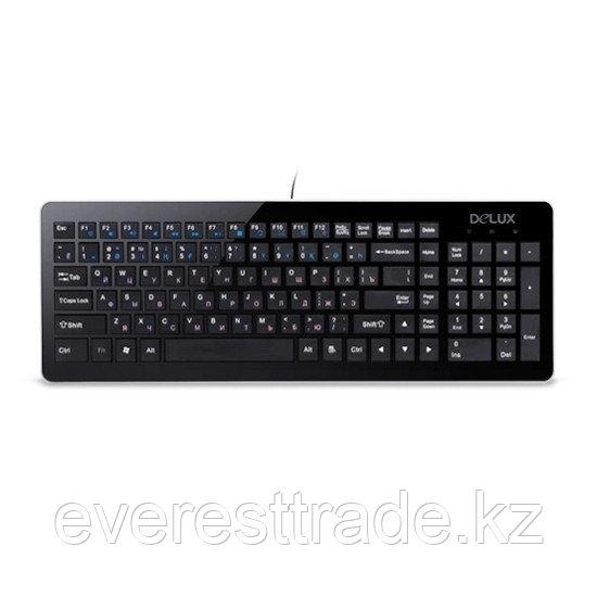 Клавиатура, Delux, DLK-1500UB, Ультратонкая, USB, Кол-во стандартных клавиш 104, 12 мультимедиа-клавиш