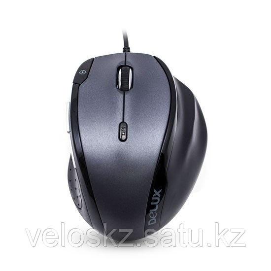 Мышь, Delux, DLM-620OUB, 7D, Оптическая, 1000-1600-2400dpi, USB, кабель 2м