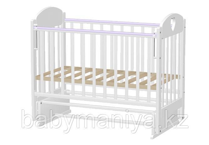 Кровать детская Ведрусс ИРИШКА 7 без ящика (маятник накладка сердечко) Белая