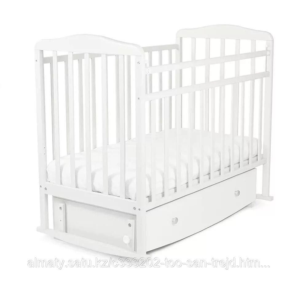 Детская кровать Митенька  с маятником и ящиком(опускающие планки),цвет белый