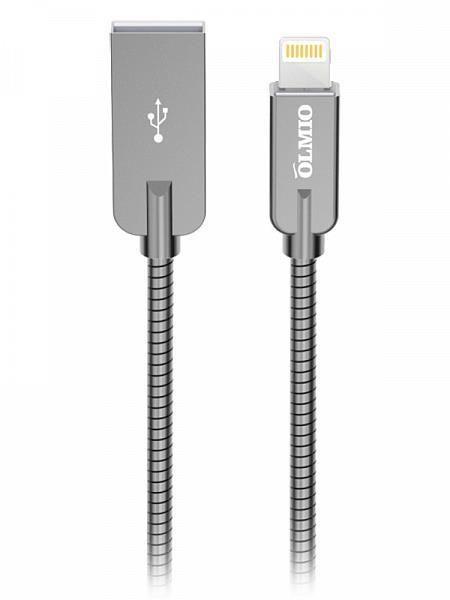 Кабель OLMIO STEELY  USB 2.0 - lightning  1.2м  2.1A  серый