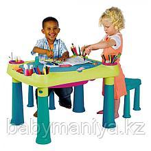Столик KETER CREATIVE для детского творчества и игры с водой и песком + 2 табуретки (79x56x50h)