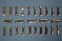 Пластиковые стразы, прямоугольные, клеевые, 19х7 мм. - 100 шт.