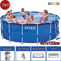 Круглый каркасный бассейн, Metal Frame Pool, Intex 28242, размер 457х122 см, фото 1