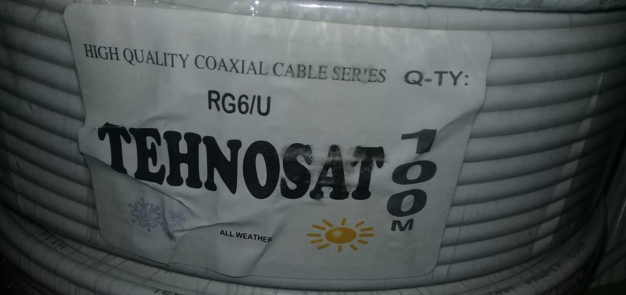 Кабель коаксиальный белый, RG6/U   75ом   TEHNOSAT