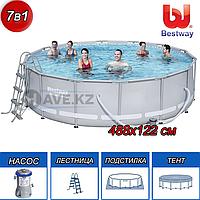 Круглый каркасный бассейн, Power Steel, Bestway 56451, размер 488х122 см, фото 1