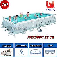 Прямоугольный каркасный бассейн, Power Steel Rectangular, Bestway 56475, размер 732 х 366 х 132 см, фото 1
