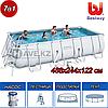 Прямоугольный каркасный бассейн, Power Steel Rectangular, Bestway 56670, размер 488х244х122 см