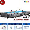Прямоугольный каркасный бассейн, Ultra Frame Pool, Intex 26378NP, 26378, размер 975х488х132 см
