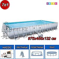 Прямоугольный каркасный бассейн,  Power Steel Frame, Bestway 56623, размер 956х488х132 см, фото 1