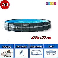 Круглый каркасный бассейн, Ultra XTR Frame Pool, Intex 26326NP, 26326, размер 488х122 см, фото 1