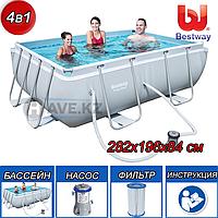Прямоугольный каркасный бассейн, Power Steel Frame Pool, Bestway 56629, размер 282х196х84 см, фото 1