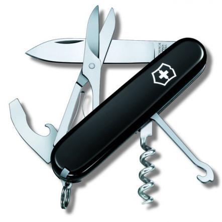 Нож складной офицерский Victorinox Compact, Функционал: Универсальная, Кол-во функций: 15 в 1, Цвет: Чёрный, (