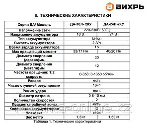 Дрель-шуруповерт Вихрь ДА-24Л-2КУ ударная, фото 2